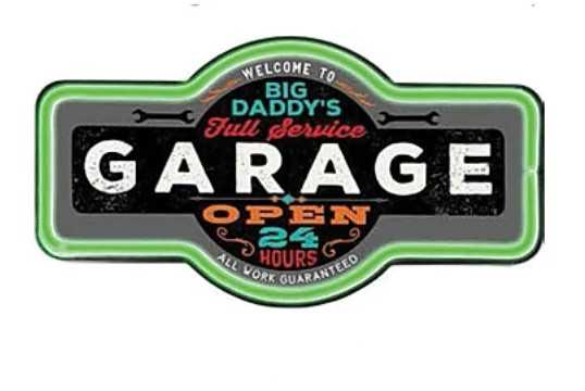 Big Daddy's Garage Open 24/7 Marquee Shape LED Bar Rope Sign