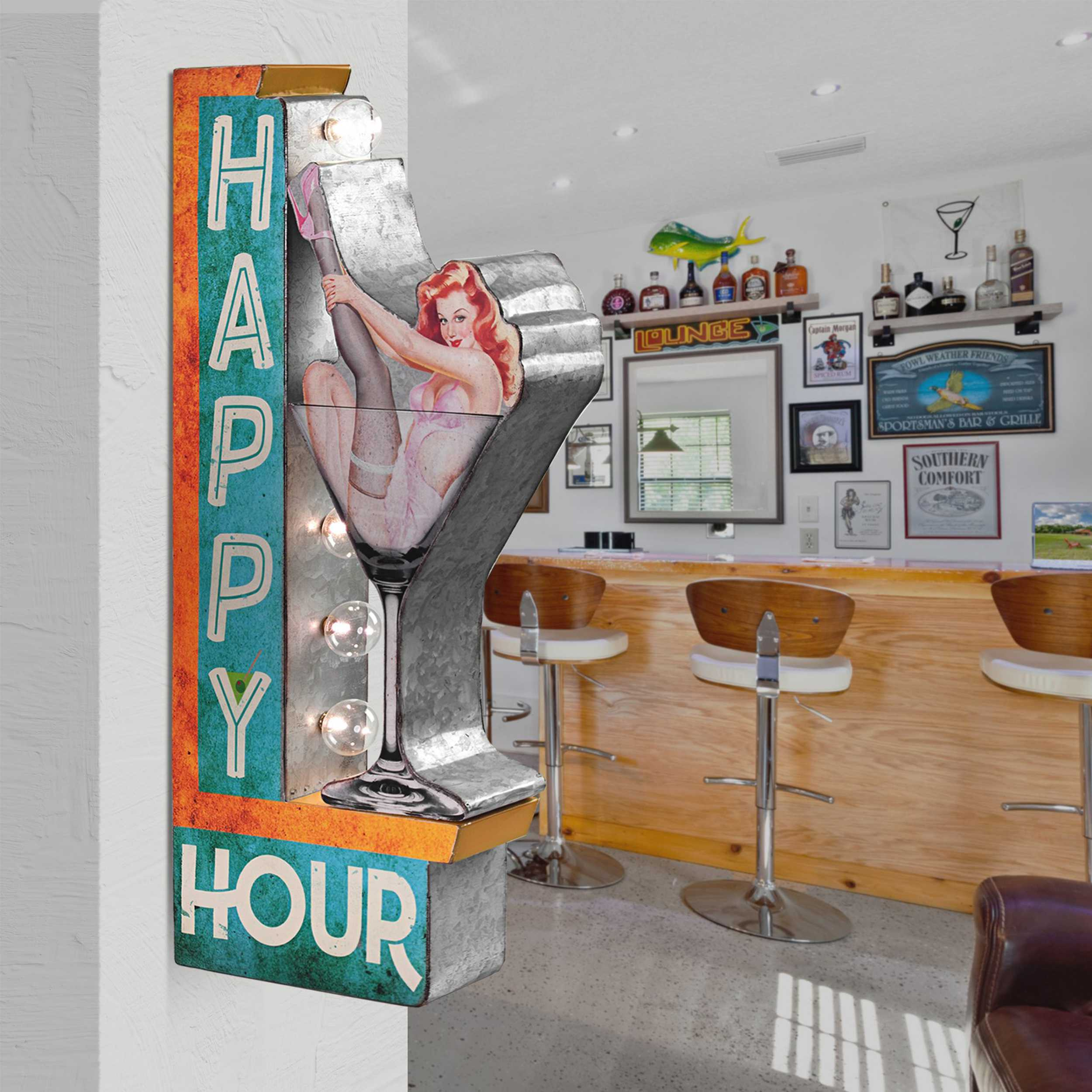 Vintage Two Sided Led Sign - Happy Hour