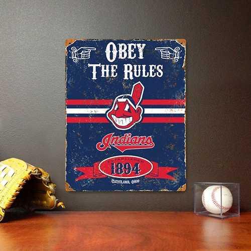 Cleveland Indians Embossed Metal Sign