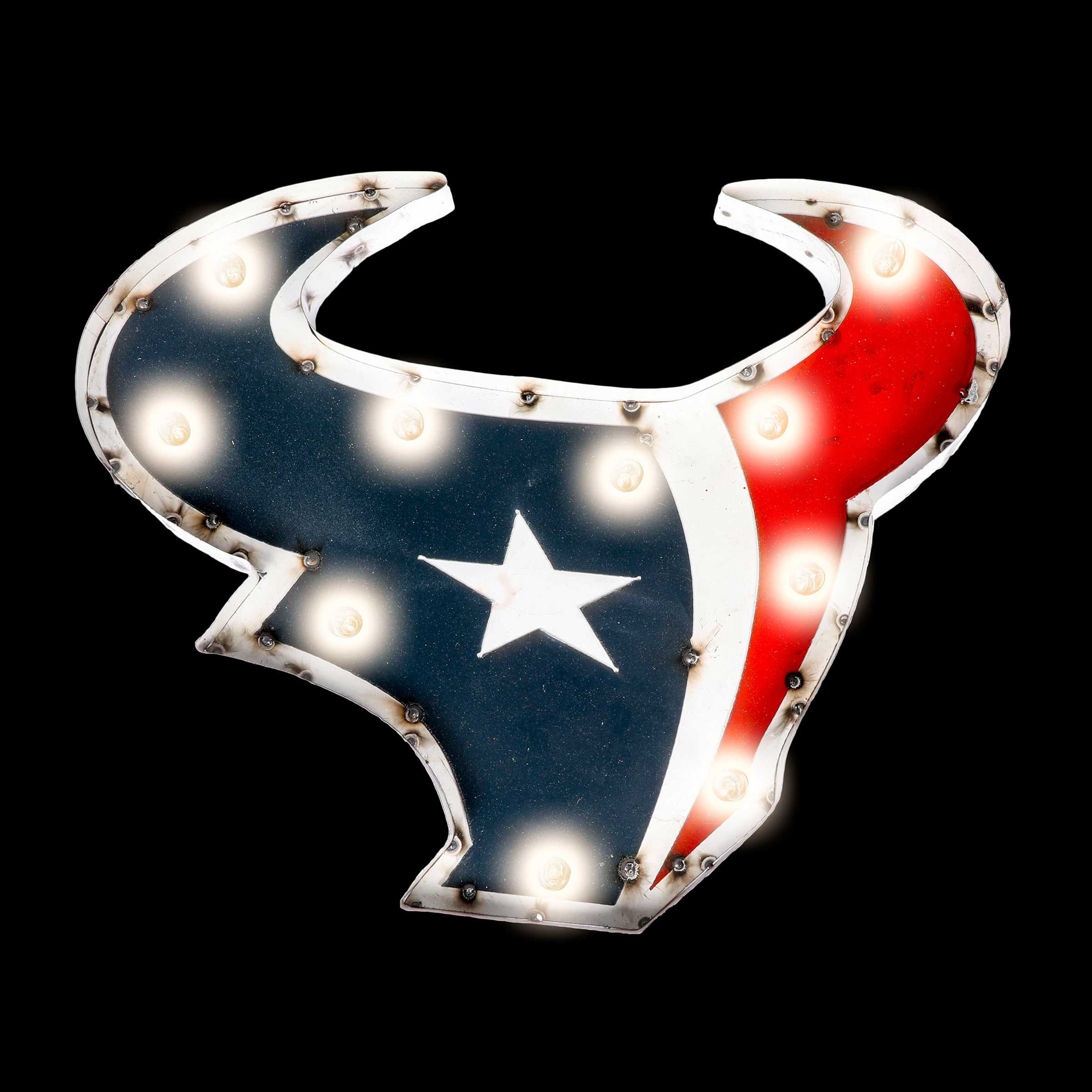 Houston Texans Logo Lighted Recycled Metal Sign
