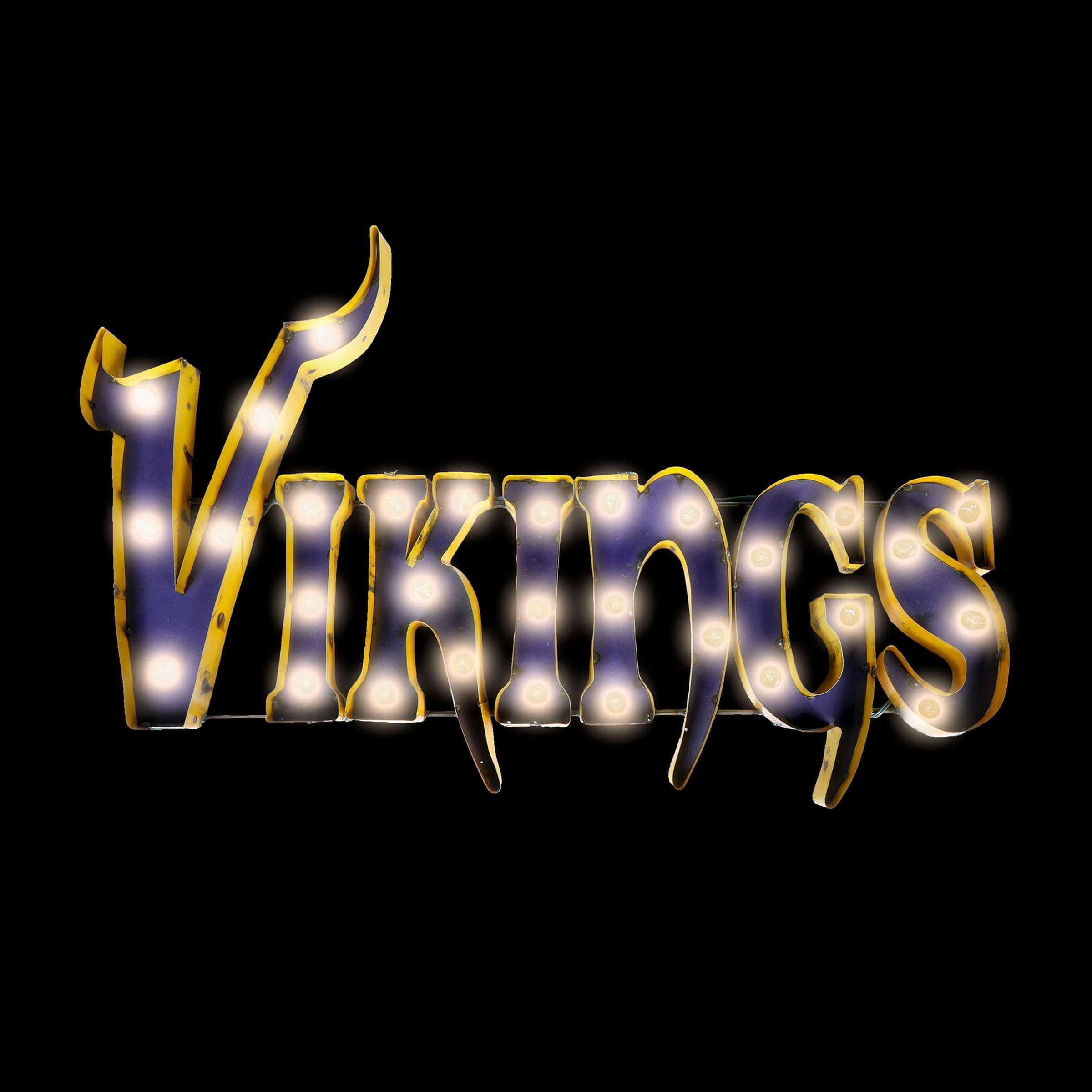 MINNESOTA VIKINGS Lighted Recycled Metal Sign