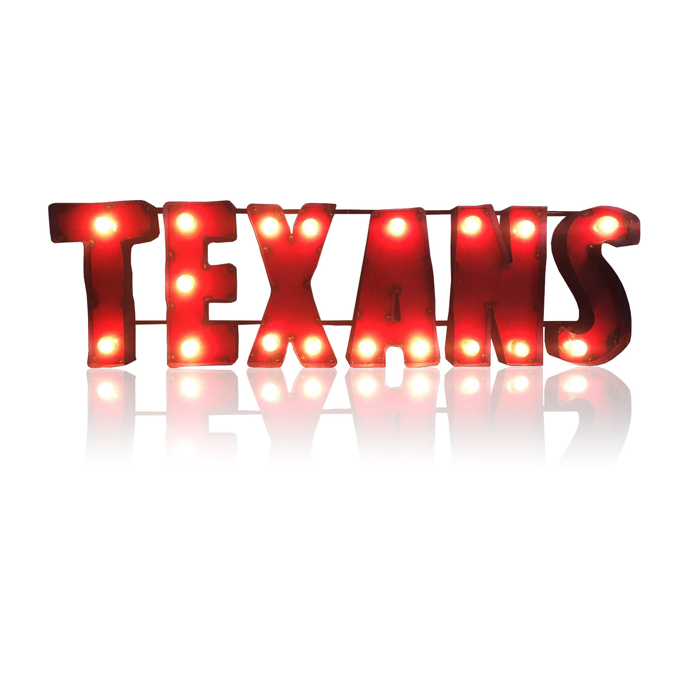 HOUSTON TEXANS Lighted Recycled Metal Sign