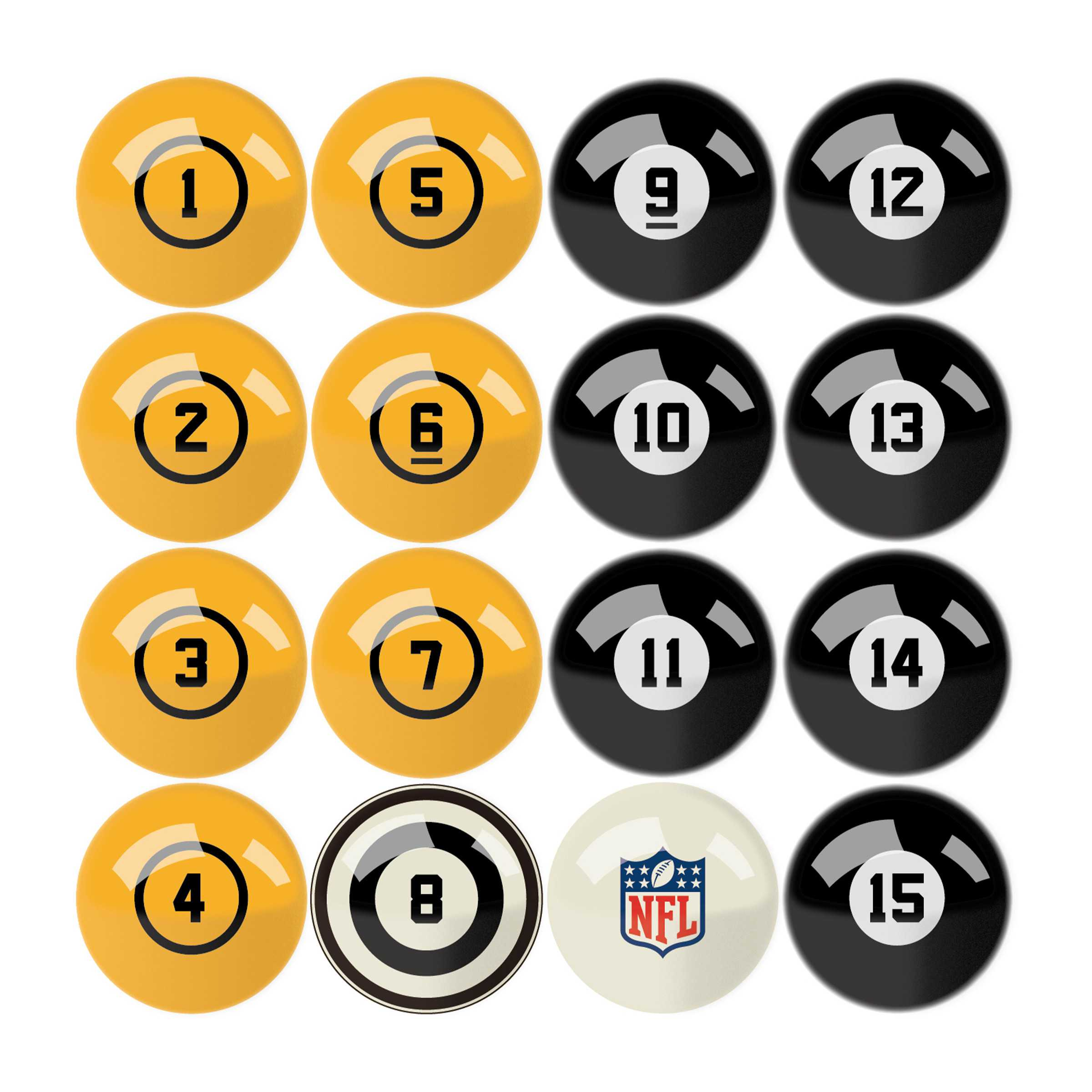 Pittsburgh Steelers Billiard Balls with Numbers