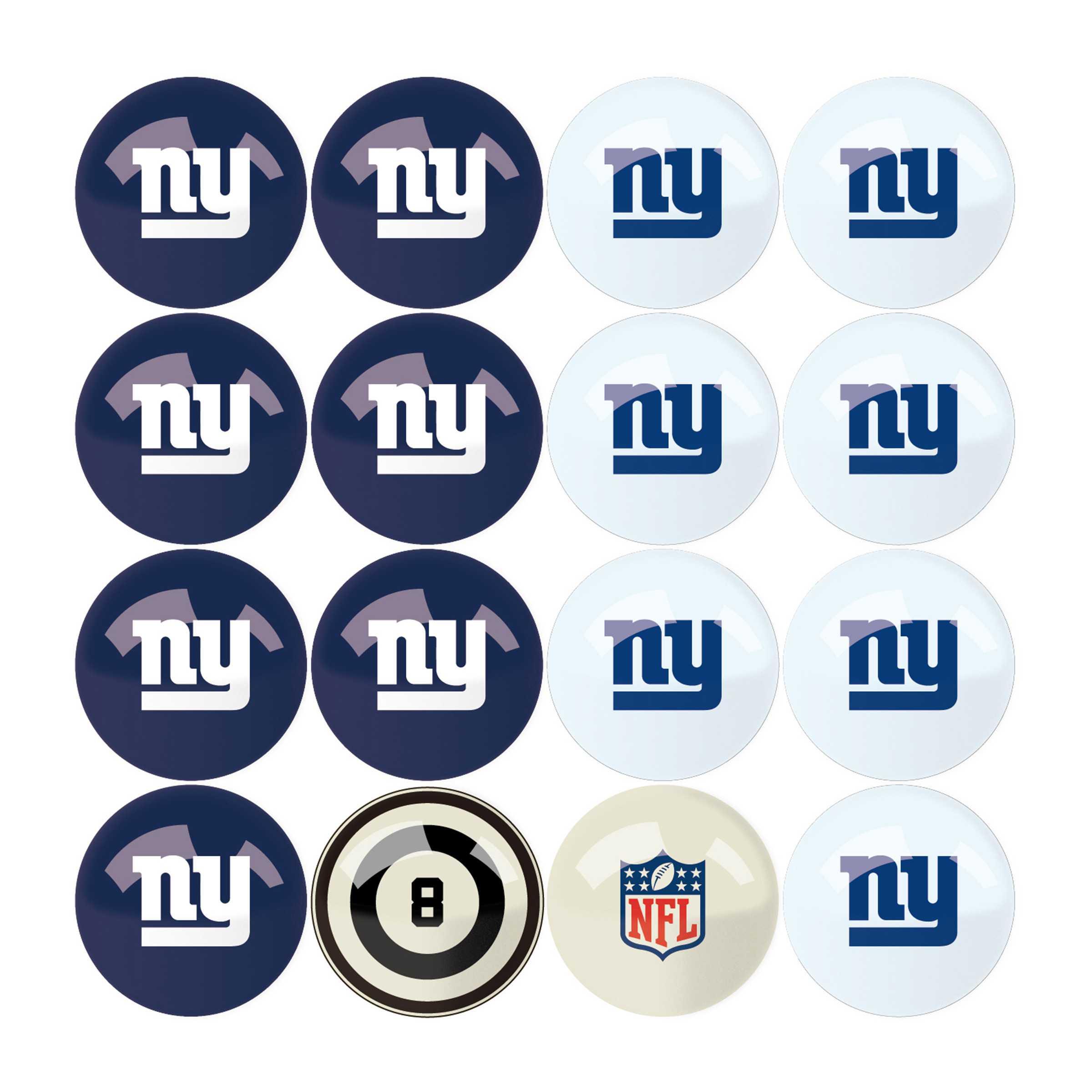 New York Giants Billiard Balls with Numbers