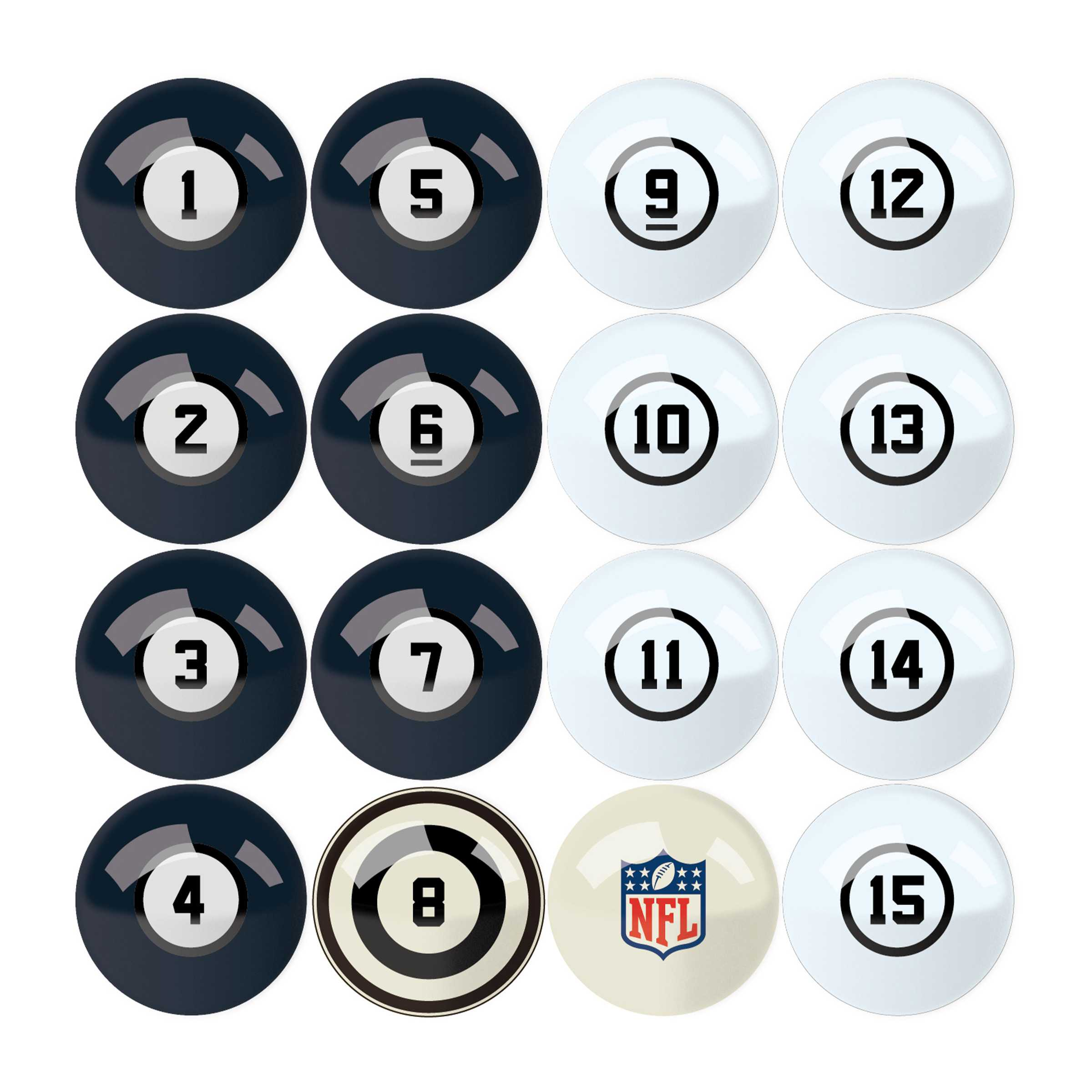 Chicago Bears Billiard Balls with Numbers