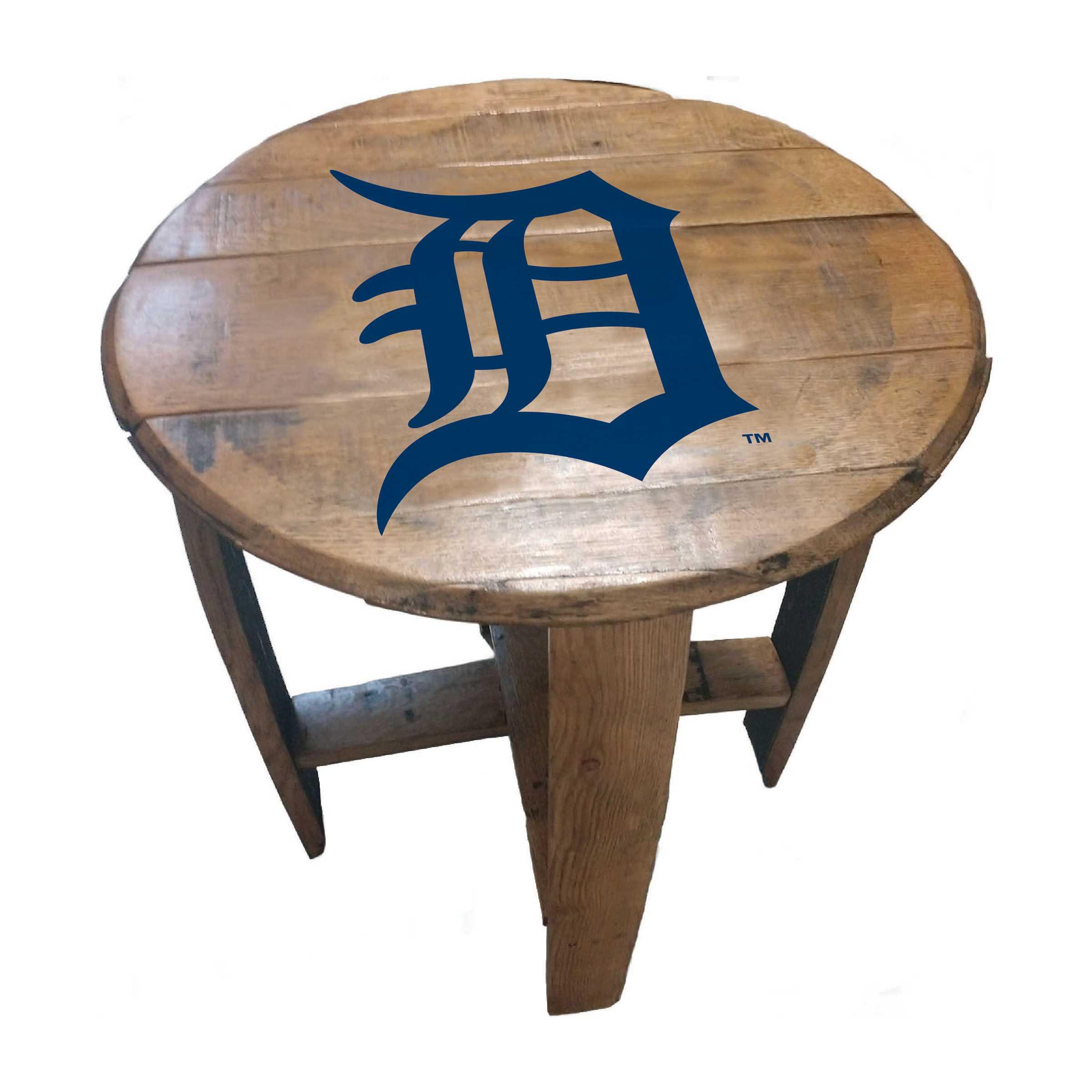 DETROIT TIGERS OAK BARREL TABLE