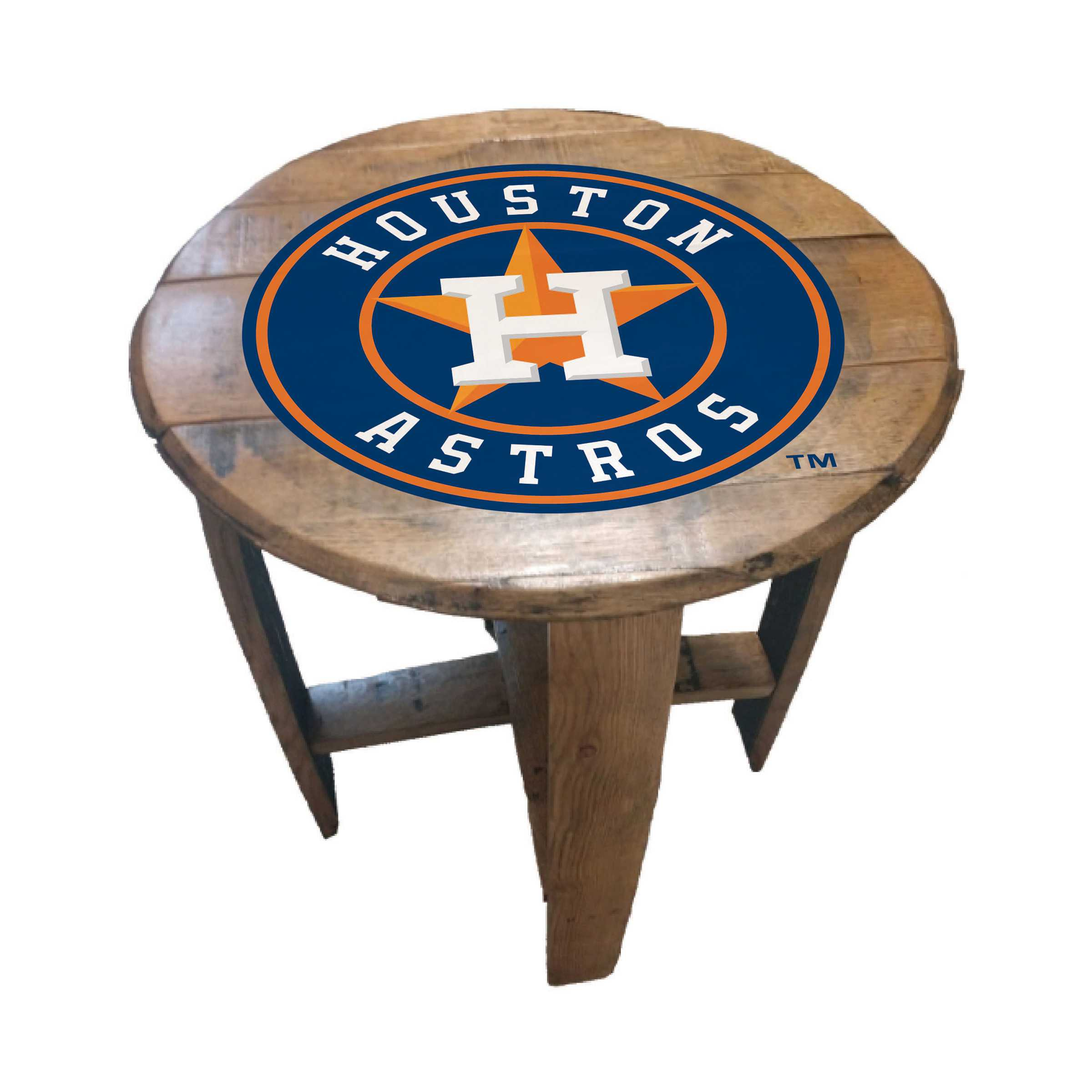 HOUSTON ASTROS OAK BARREL TABLE