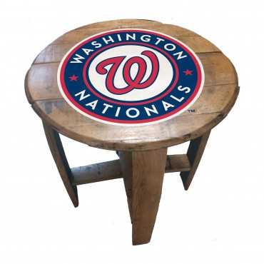 WASHINGTON NATIONALS OAK BARREL TABLE