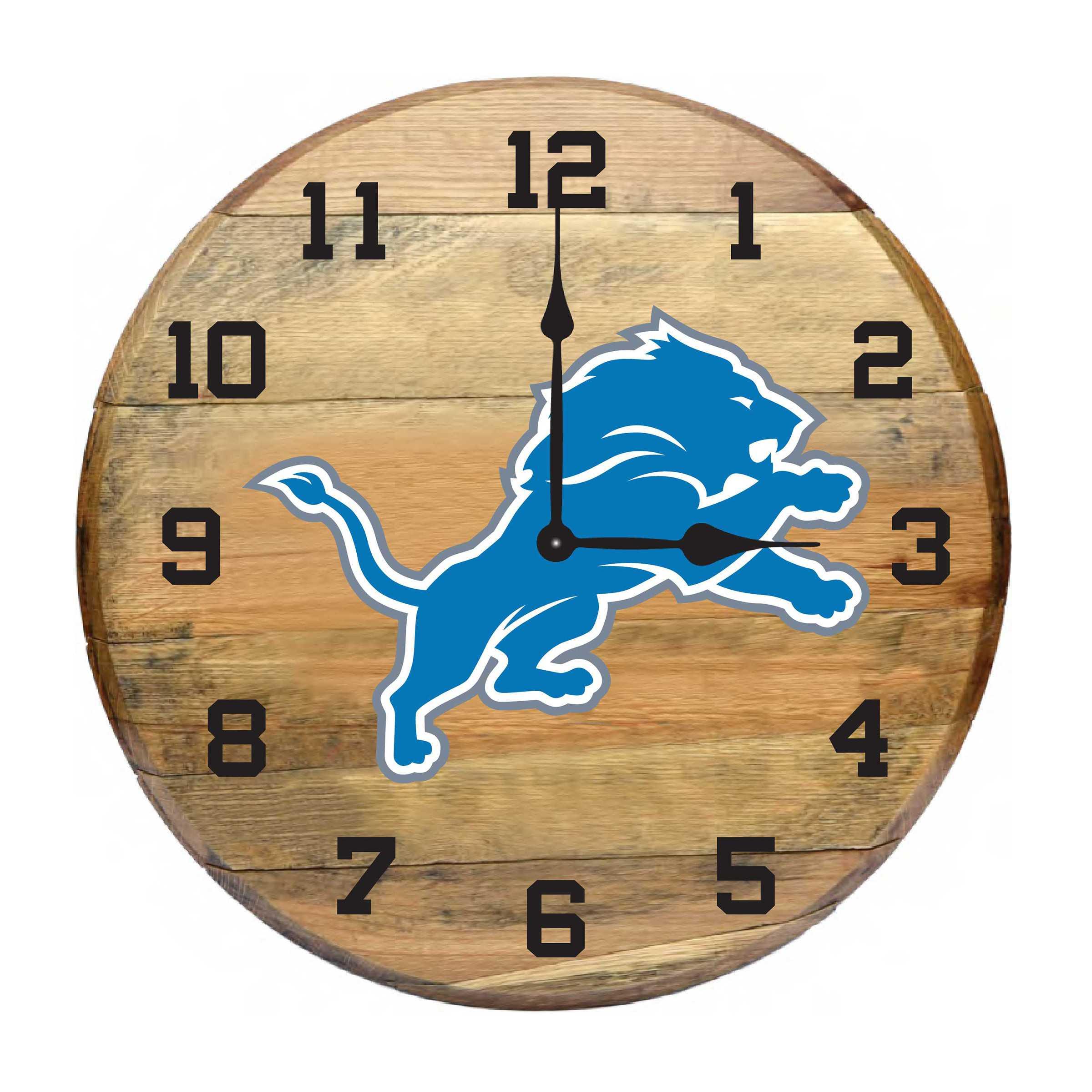 DETROIT LIONS Oak Barrel Clock