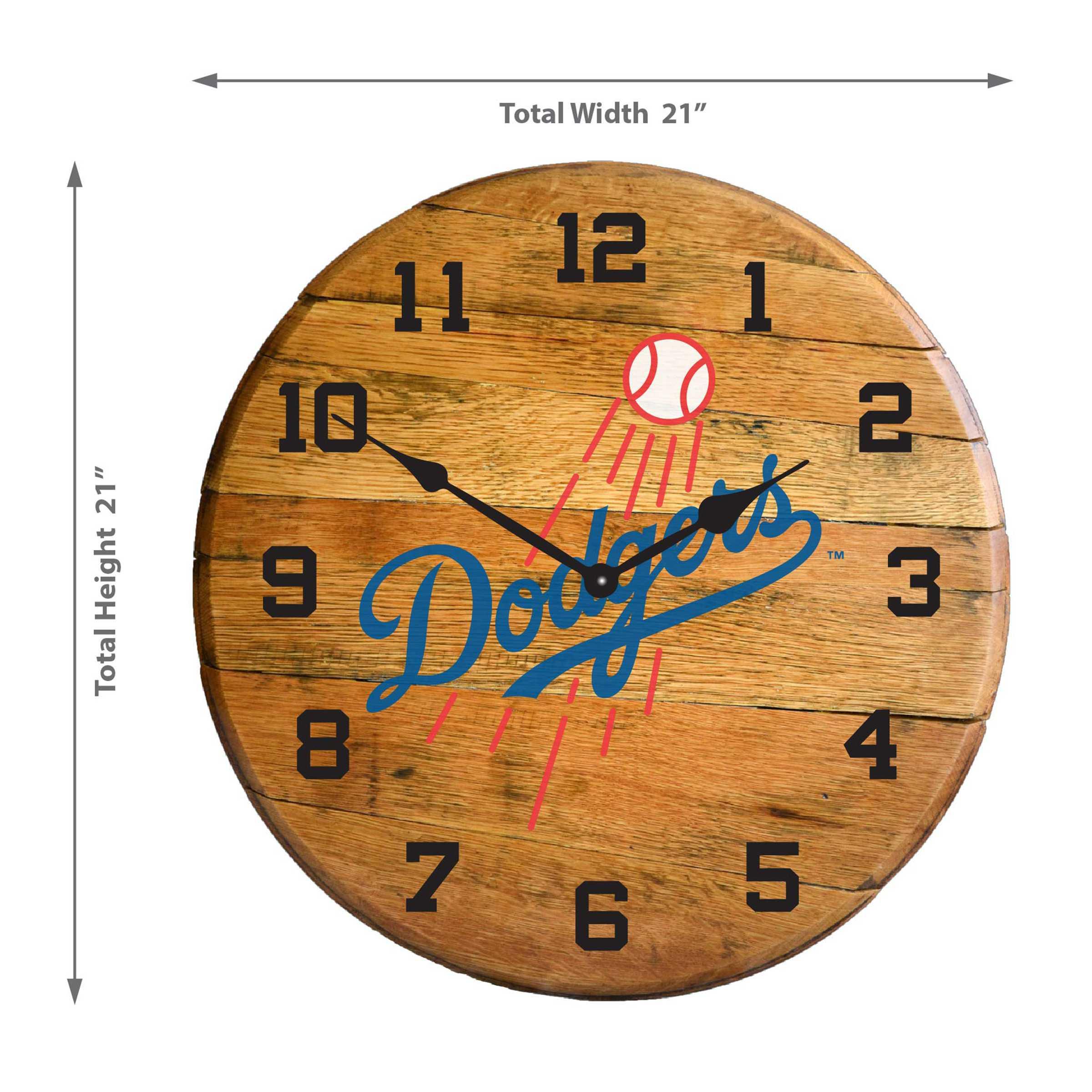 LOS ANGELES DODGERS Oak Barrel Clock
