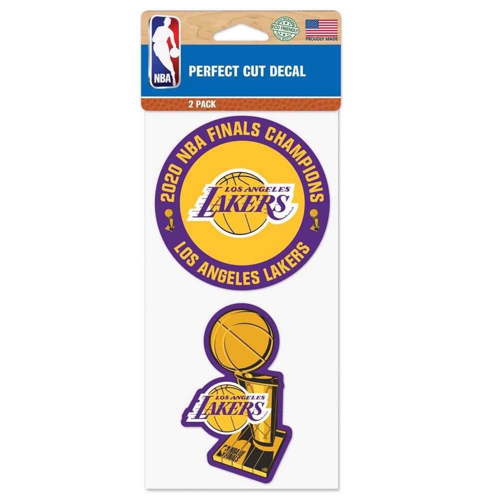 WORLD CHAMPIONS LOS ANGELES LAKERS PERFECT CUT DECAL SET OF TWO