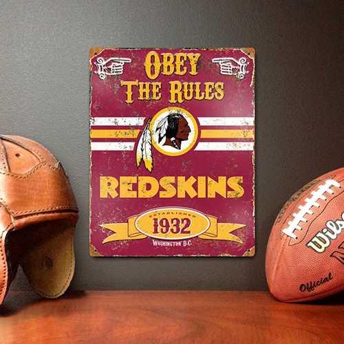 Washington Redskins Embossed Metal Sign